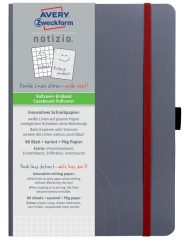 Avery Zweckform Notizio No. 7019 négyzethálós kötött füzet A5-ös méretben, szürke színű puhafedeles borítóval (Avery 7019)