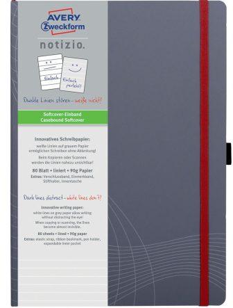Avery Zweckform Notizio No. 7020 vonalas kötött füzet A4-es méretben, szürke színű puhafedeles borítóval (Avery 7020)