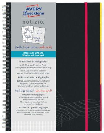 Avery Zweckform Notizio No. 7023 négyzethálós spirálfüzet A5-ös méretben, sötétszürke színű keményfedeles borítóval (Avery 7023)