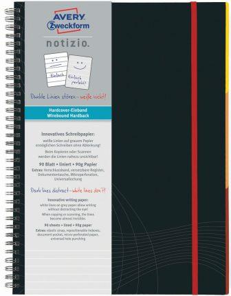 Avery Zweckform Notizio No. 7024 vonalas spirálfüzet A4-es méretben, sötétszürke színű keményfedeles borítóval (Avery 7024)