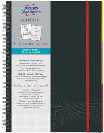 Avery Zweckform Notizio No. 7025 négyzethálós spirálfüzet A4-es méretben, sötétszürke színű keményfedeles borítóval (Avery 7025)