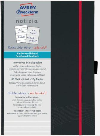 Avery Zweckform Notizio No. 7026 vonalas kötött füzet A5-ös méretben, sötétszürke színű keményfedeles borítóval (Avery 7026)