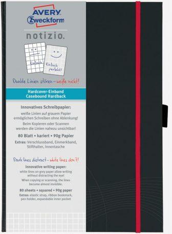Avery Zweckform Notizio No. 7027 négyzethálós kötött füzet A5-ös méretben, sötétszürke színű keményfedeles borítóval (Avery 7027)