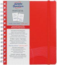 Avery Zweckform Notizio No. 7031 négyzethálós spirálfüzet A5-ös méretben, piros színű műanyag borítóval (Avery 7031)