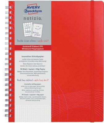 Avery Zweckform Notizio No. 7035 négyzethálós spirálfüzet A4-es méretben, piros színű műanyag borítóval (Avery 7035)