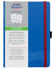 Avery Zweckform Notizio No. 7041 négyzethálós kötött füzet A5-ös méretben, kék színű puhafedeles borítóval (Avery 7041)