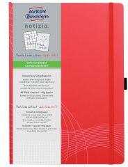 Avery Zweckform Notizio No. 7043 négyzethálós kötött füzet A4-es méretben, piros színű puhafedeles borítóval (Avery 7043)