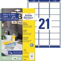Avery Zweckform 63,5 x 38,1 mm méretű, fehér színű nyomtatható öntapadós etikett címke