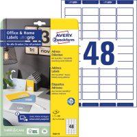 Avery Zweckform 45,7 x 21,2 mm méretű, fehér színű nyomtatható öntapadós etikett címke