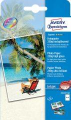 Avery Zweckform No. C2497-50 tintasugaras 100 x 150 mm (A6) méretű, 230 g -os különleges minőségű magasfényű fotópapír - 50 ív / doboz (Avery C2497-50)