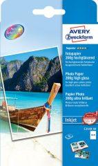 Avery Zweckform No. C2549-50 tintasugaras 100 x 150 mm (A6) méretű, 200 g -os különleges minőségű magasfényű fotópapír - 50 ív / csomag (Avery C2549-50)