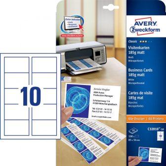 Avery Zweckform C32010-10 névjegykártya mikroperforált élekkel