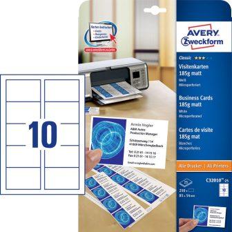 Avery Zweckform C32010-25 névjegykártya mikroperforált élekkel
