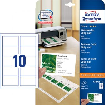 Avery Zweckform C32011-25 névjegykártya sima élekkel