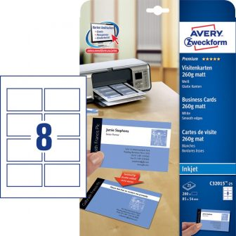 Avery Zweckform C32015-25 névjegykártya sima élekkel