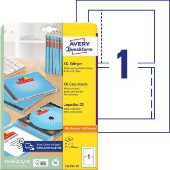 Avery Zweckform C32250-25 mikroperforált CD tok betét
