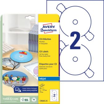 Avery Zweckform C9660-25 öntapadó CD címke
