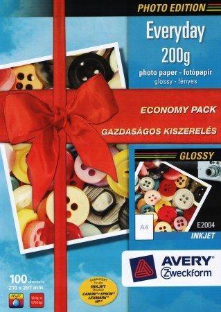 Avery Zweckform No. E2004 tintasugaras 210 x 297 mm (A4) méretű, 200 g -os gazdaságos kiszerelésű fényes fotópapír - 100 ív / doboz (Avery E2004)