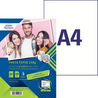 Avery Zweckform No. E2497 tintasugaras 210 x 297 mm (A4) méretű, 230 g -os gazdaságos kiszerelésű fényes fotópapír - 100 ív / doboz (Avery E2497)