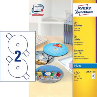 Avery Zweckform J8676-100 öntapadó CD címke