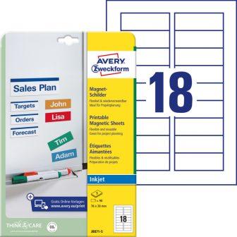Avery Zweckform No. J8871-5 tintasugaras 78 x 28 mm méretű fehér mágneses címke A4 -es íven - 90 darab / csomag - 5 ív / csomag (Avery J8871-5)