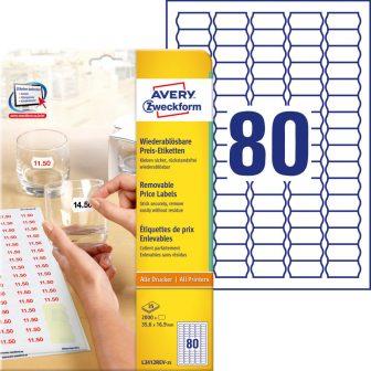 Avery Zweckform L3412REV-25 öntapadó árazó címke