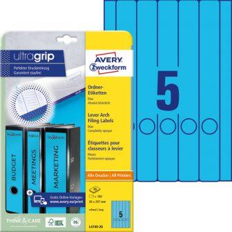 Avery Zweckform L4749-20 nyomtatható öntapadós iratrendező címke