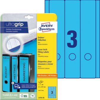 Avery Zweckform L4753-20 nyomtatható öntapadós iratrendező címke