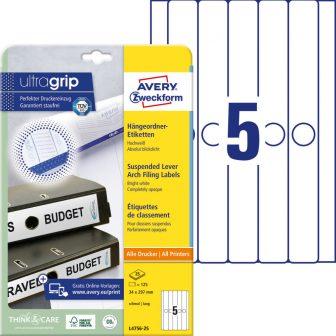 Avery Zweckform L4756-25 nyomtatható öntapadós függőmappa címke
