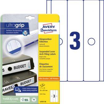 Avery Zweckform L4757-25 nyomtatható öntapadós függőmappa címke