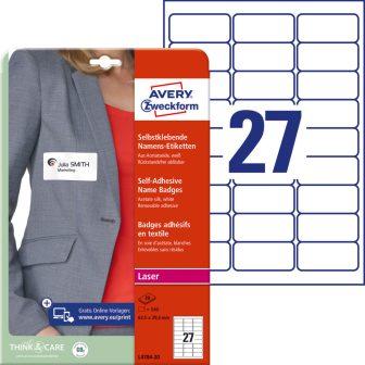 Avery Zweckform L4784-20 textilre ragasztható névcímke