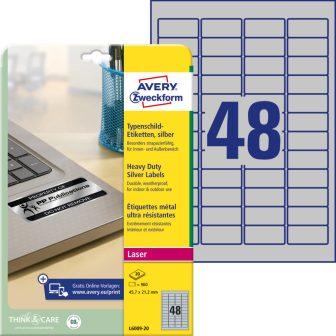 Avery Zweckform L6009-20 öntapadós ezüst ipari címke