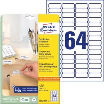 Avery Zweckform L6021REV-25 függőmappa jelölő címke