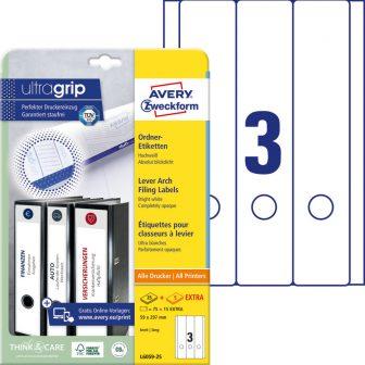 Avery Zweckform L6059-25 nyomtatható öntapadós iratrendező címke