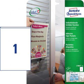 Avery Zweckform No. L7083-10 221 x 304 mm méretű, átlátszó öntapadó zseb - 10 darab / csomag (Avery L7083-10)