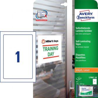 Avery Zweckform No. L7087-10 univerzális 170 x 257 mm méretű fehér önlamináló etikett címke A4 -es íven - 10 önlamináló etikett címke / csomag - 10 ív / csomag (Avery L7087-10)