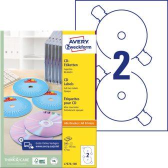 Avery Zweckform L7676-100 öntapadó CD címke