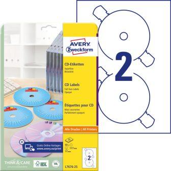Avery Zweckform L7676-25 öntapadó CD címke