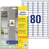 Avery Zweckform No. L7872-20 univerzális 35,6 x 16,9 mm méretű, fehér öntapadó etikett címke extra erős ragasztóval A4-es íven - 1600 címke / csomag - 20 ív / csomag (Avery L7872-20)
