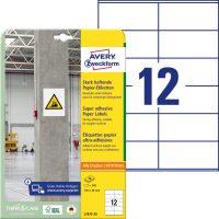 Avery Zweckform No. L7875-20 univerzális 105 x 48 mm méretű, fehér öntapadó etikett címke extra erős ragasztóval A4-es íven - 240 címke / csomag - 20 ív / csomag (Avery L7875-20)