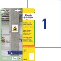 Avery Zweckform No. L7877-20 univerzális 210 x 297 mm méretű, fehér öntapadó etikett címke extra erős ragasztóval A4-es íven - 20 címke / csomag - 20 ív / csomag (Avery L7877-20)