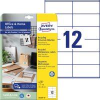 Avery Zweckform 105 x 48 mm méretű, környezetbarát nyomtatható öntapadós etikett címke