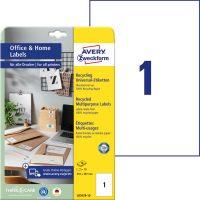 Avery Zweckform 210 x 297 mm méretű, környezetbarát nyomtatható öntapadós etikett címke