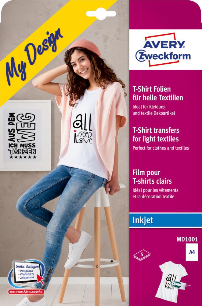 953ed3858f Avery Zweckform My Design MD1001 pólóra, textilre vasalható fólia, fehér és  világos színű anyagokhoz