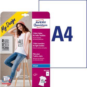 Avery Zweckform My Design MD1005 pólóra, textilre vasalható fólia, világos és színes anyagokhoz (vegyes csomag) - méret: 210 x 297 mm (A4) - 5 ív / csomag (Avery MD1005)