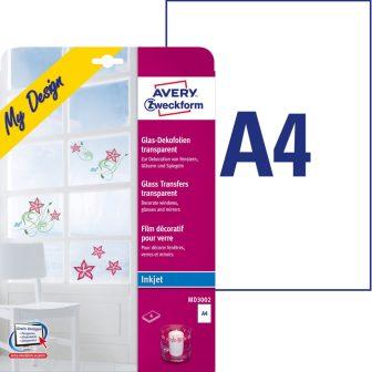 Avery Zweckform My Design MD3002 átlátszó dekorációs fólia tintasugaras nyomtatókhoz A4 - 210 x 297 mm - 4 ív / csomag (Avery MD3002)