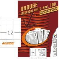Danube MT-71323 univerzális 70 x 67,7 mm méretű fehér öntapadó etikett címke A4 -es íven (kiszerelés: 1200 etikett címke / doboz - 100 ív / doboz) (Danube LCJ-132)