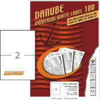 Danube MT-71393 univerzális 210 x 148,5 mm méretű fehér öntapadó etikett címke A4 -es íven (kiszerelés: 200 etikett címke / doboz - 100 ív / doboz) (Danube LCJ-139)