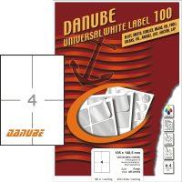 Danube MT-81053 univerzális 105 x 148,5 mm méretű fehér öntapadó etikett címke A4 -es íven (kiszerelés: 400 etikett címke / doboz - 100 ív / doboz) (Danube LCJ-105)