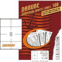 Danube MT-81083 univerzális 105 x 71 mm méretű fehér öntapadó etikett címke A4 -es íven (kiszerelés: 800 etikett címke / doboz - 100 ív / doboz) (Danube LCJ-108)